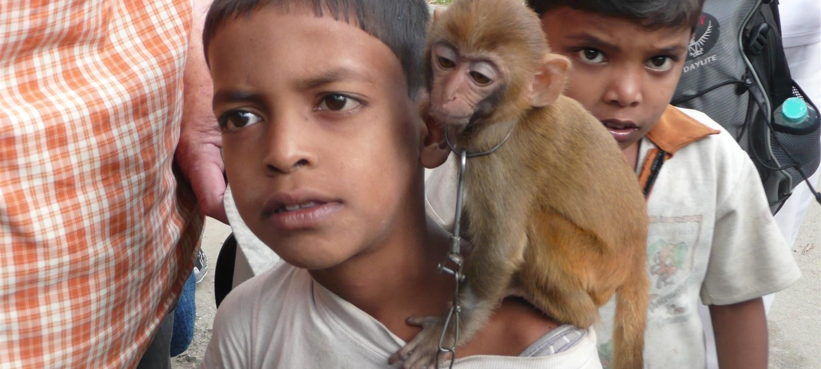 boy and monkey (photo by Dick Sakahara)